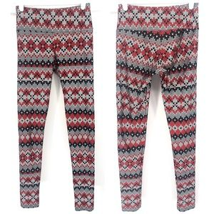 GOLDSHEEP HEART GRAPHIC PRINTED LEGGINGS RED SMALL